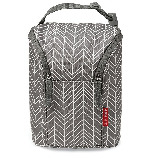 Skip Hop Insulated Breastmilk Cooler and Double Baby Bottle Bag, Grey Feather