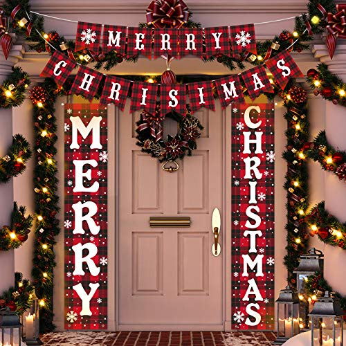 Decorlife 3PCS Outdoor Christmas Decoration Set, Porch Sign of Buffalo Check, Christmas Banner Included, for Xmas Decorations