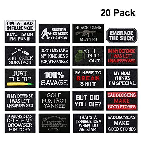 Parche de velcro para gorras, bolsas, mochilas, chaleco táctico, uniformes militares 20 piezas-A