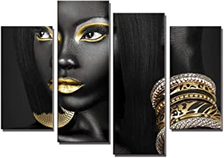 4 Pieces Abstract Poster Printed Golden Egyptian Queen Beauty Black Woman Portrait Wall..