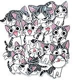 Cute Dibujos Animados niños Queso Gato Maleta Maleta portátil refrigerador Pegatinas de Animales 28PCS