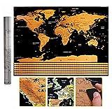 Carte du monde à gratter - Format voyage - Avec tube cadeau - Pour salle de classe, bureau, maison...