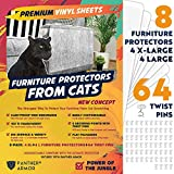 Panther Armor Furniture Protectors from Cat Scratch - 8(Eight)-Pack – Couch Guards for Cats - 4-Pack XL 17'L 12'W + 4-Pack Large 17'L 10'W Cat Scratch Deterrent - Couch Corner Cat Scratch Repellent
