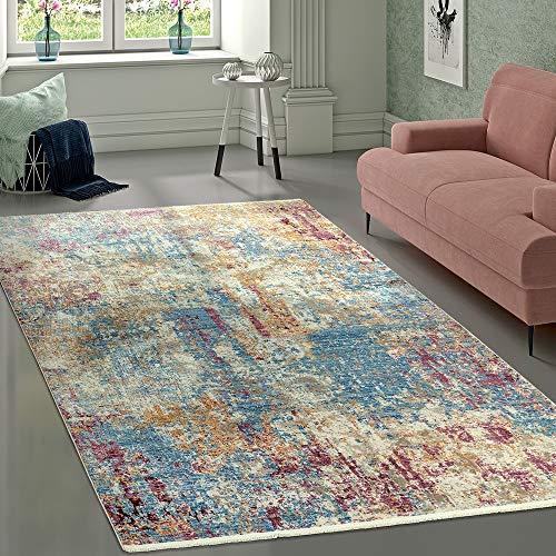Tappeto di Design Vintage Motivo Astratto Blu Crema Rosa Multicolore, Dimensione:80x150 cm