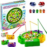 WISHKY Fishing Game Toy Set with Rotating Board| Fishing Toy Includes 15 Fish and 3 Fishing Poles | Safe and Durable Gift for Toddlers and Kids Ages 4 and Up