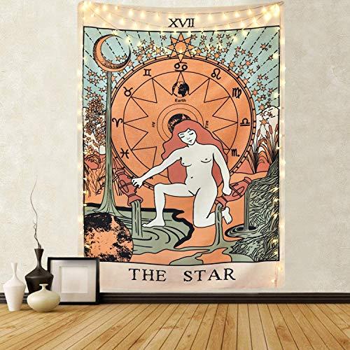 Tapiz de pared de Tarot Amknn, con la luna, estrellas y el sol, para colgar en la pared, decoración para dormitorio u hogar, para agregar misterio a un ambiente, tarot en la Europa medieval, Tapiz de estrella, 150cmx130cm