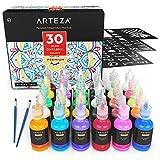 Arteza Pinturas para tela en 3D | Caja de 30 colores permanentes para pintar telas, lienzos y otros...