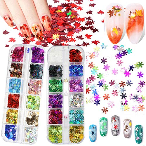 24 Boxes Fall Leaves Nail Art Glitter Sequins, Snowflake Nail Art Sequins Stickers 3D Maple Leaf Snowflake Holographic Nail Art Flakes Glitter Stickers Decals Manicure Nail Design Makeup DIY Decor