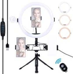 Sponsored Ad - K&F Concept 10'' Selfie Ring Light with Tripod Stand Cell Phone Holder 3 Light Modes for Vlog Camera Video ...