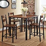 Counter Height Dining Set Table And 4 Chairs, Durable Metal Construction, Square Shape, Footrest, Ideal For Family Gathering And Evening, Kitchen, Oak Finish + Expert Guide