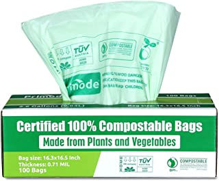Primode 100% Compostable Trash Bags, 2.6 Gallon Food Scrap Yard Waste Bags, 100 Count,..
