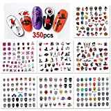 Konsait 350+pcs Halloween Nail Stickers, 3D Halloween Nail Art Stickers Skull Bat Ghost Nail Decals for Woman Girls Kids Halloween Party Favors Decorations Nail Applique DIY Supplies