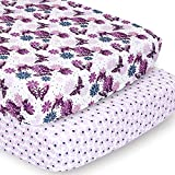 The Peanutshell Crib Sheet Set for Baby Girls | 2 Pack Set | Purple Butterfly & Purple Ditsy Floral