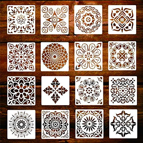 KANOSON Mandala Schablone Set, 16 Stück Groß Wiederverwendbare Laserschnitt Malschablone/Airbrush Vorlage,Mandala Dotting Schablonen für Wand/Stein/Holz Möbel/Malen Vorlagen Kinder(6x6 Zoll)