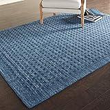 Stone & Beam Casual Geometric Wool Rug, 7' 6' x 5', Navy