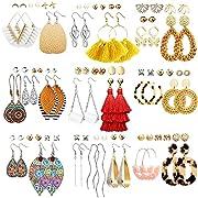 EXQUISITE DESIGN: Nice statement earrings set, including stud earrings with pearl and cubic element, gold butterfly earrings, sterling silver earrings, leather earrings, bohemian acrylic hoops earrings, vintage water drop dangle earrings,fashion tass...