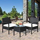 Tangkula AM0583HM 3 Piece Patio Furniture Set with 2 Cushioned Chairs & End Table, Black