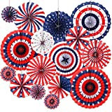 4th of July Decorations 16PCS Paper Fan for USA Patriotic Decorations Memorial Day Decorations...