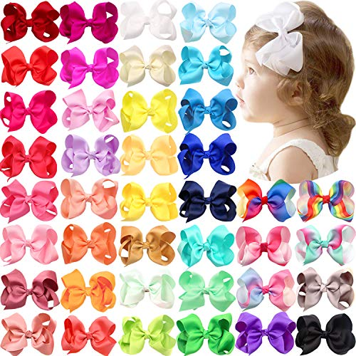 40 Colors Grosgrain Ribbon 4.5 Inch Hair Bows Alligator Clips Hair Accessories for Baby Girls Infants Toddlers Teens Kids Children