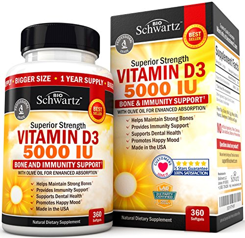 Vitamin D3 5,000 IU for Immune Support, Healthy Mood, & Bone Strength - Gluten Free & Non-GMO Vitamin D Supplement with Olive Oil for Highest Absorption - Made in USA - 360 Softgels