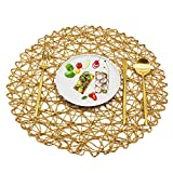 Utalek Round Paper Woven Placemats Set of 6 Natural Paper Fiber Table Mats 15' Decorative Rope Mesh Place Mats for Dining Party Wedding (Light Brown)