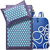 New Version Professional Acupressure Mat and Pillow Set from Organic Linen – Best Acupuncture Mat Gift – Back and Neck Pain Relief Reflexology Mat – for Women and Men - Migraines and Muscle Relief