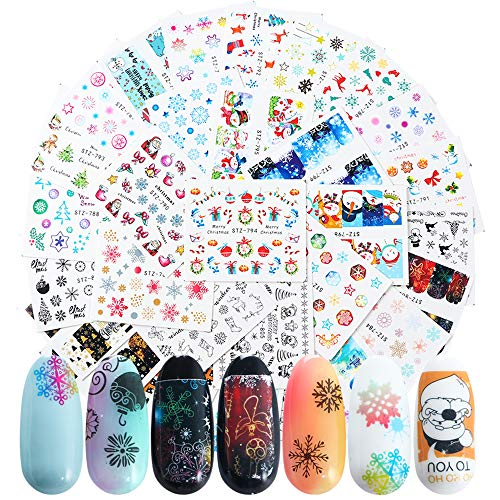 LAKYTION 30 Sheets Christmas Nail Decals Nail Art Accessories Winter White Snowflake Water Transfer Nail Art Stickers