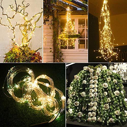 Stringa Luci Led a Batteria Catena Luminosa 10x1M 100 LED con 8 Modalit Flash luci Decorative di Fata per Albero di Natale Giardino Wedding Festival Party Interno Esterno Camera da Letto Decorazione