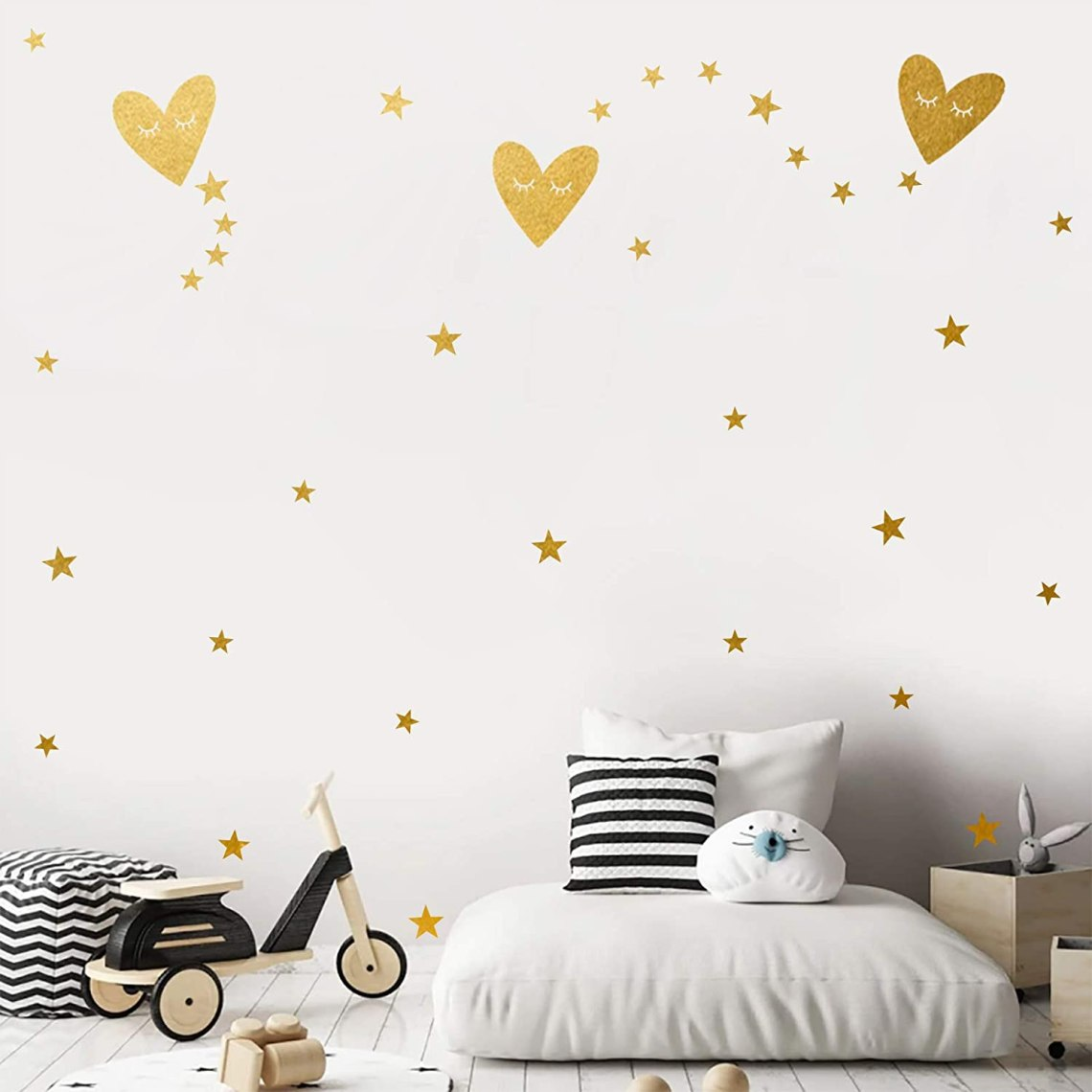 Buy Heart Shaped Star Wall Decals Easy Paste Vinyl Kids Room Decor For Girls Boys Good Night Nursery Wall Decor Wall Stickers For Living Room Gold Wall Decor 3 Heart Online In Indonesia B08l65h9ts