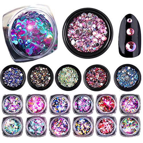 CHARMING MAY 18 Boxes Colorful Glitter Paillette Nail Sequins Resin Rhinestone Multi-size Flat Bottom Manicure Christmas Nail Art Decoration