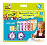 CRAYOLA Mini Kids-Pennarelli Super Lavabili a Punta Tonda, per Asilo e Tempo Libero, 12 Colori, Assortiti, Pezzi, 8325