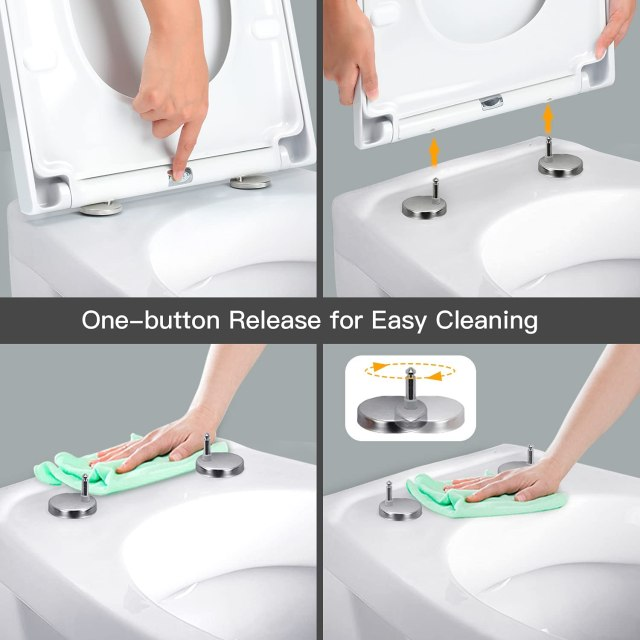 Pipishell Soft Close Toilet Seat with Quick Release, Simple Top