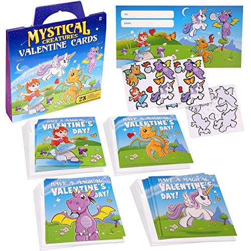 Valentine's Day Cards For Kids   Mythical Creatures 28 Valentines Cards With Stickers - Unicorn, Dragon, Fairy Theme! Fun Toddler Classroom Valentine Cards