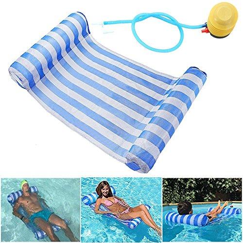 GEYUEYA Home Wasser Hängematte Lounge Chair Luftmatratze Schwimmende aufblasbare Kopf und Trittbrett Float Bed Pool Hängematte Super leicht für Erwachsene und Kinder 120kg (blau)