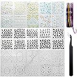 AYWFEY 60 hojas negro blanco flor colorida 3D Mini diseño de decoración de uñas + 10 rollos de cinta de rayas para decoración de uñas de...