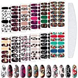168 Pieces Halloween Full Wrap Nail Art Stickers Gothic Full Wraps Nail Polish Stickers 3D Self-Adhesive Nail Art Decal Strips with Nail File Girls Nail Decoration (Skeleton Style)