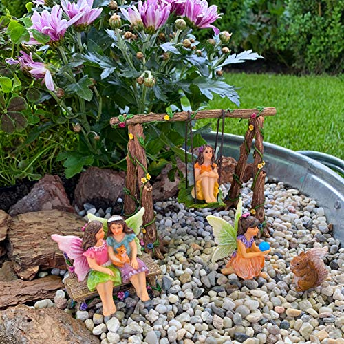 Mood Lab Fairy Garden - Accessories Kit with Miniature Figurines - Hand Painted Swing Set of 6 pcs - for Outdoor or House Decor