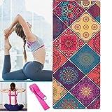 CDblue Tapis de Yoga Pliable épais Tapis de Yoga de Voyage antidérapant Tapis d'entraînement pour...