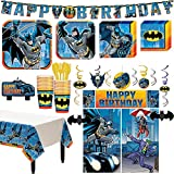 Batman Superhero Birthday Party Kit, Includes Happy Birthday Banner and Decorations, Serves 16, by Party City