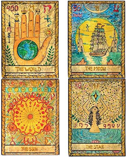 ZeeDix 4 Pcs Tarot Flag Tapestry- Small Tarot Card Europe...