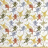 Ambesonne Nursery Fabric by The Yard, Cartoon Monkeys Hand Drawn Nature Wildlife Characters with Grunge Effect, Decorative Fabric for Upholstery and Home Accents, 2 Yards, Multicolor
