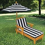 KidKraft 105 Outdoor Lounge Sonnenliege aus Holz mit Sonnenschirm – Gartenmöbel für Kinder - 2