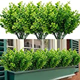 TEMCHY Artificial Boxwood Stems Faux Plants Shrubs (Pack of 7), Fake UV Resistant Greenery Foliage Spring for Farmhouse, Home, Garden, Office, Patio, Wedding and Indoor Outdoor Decor