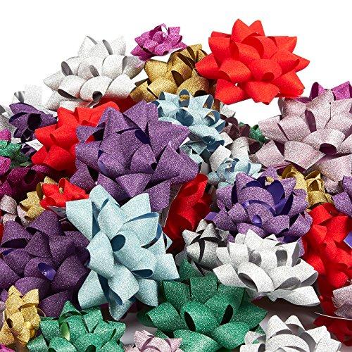 Lazos de papel de regalo de 120 hilos, lazos para tirar, cintas de regalo, incluye tamaño grande, mediano, pequeño, despegar y pegar, varios colores brillantes