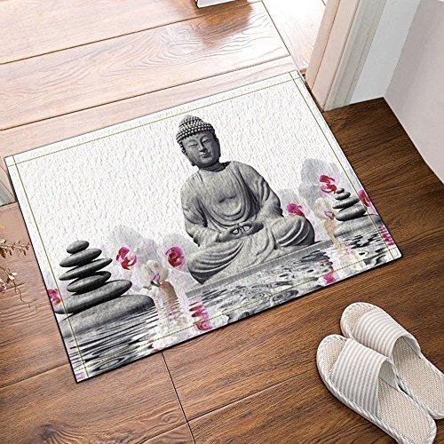 Nyngei, tappeto da bagno o da ingresso, decoro Zen: statua di Buddha in acqua con pietre, tappeto...
