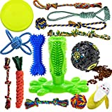 Dog Chew Toys for Puppies Teething, 14 Pack Dog Rope Toys Tug of War Dog Toy Bundle Toothbrush iq...