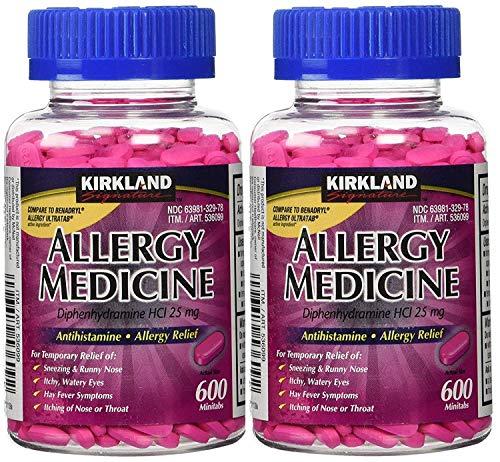 Kirkland Signature Allergy Medicine Diphenhydramine HCI 25 mg - 600 Minitabs - 2 Pack