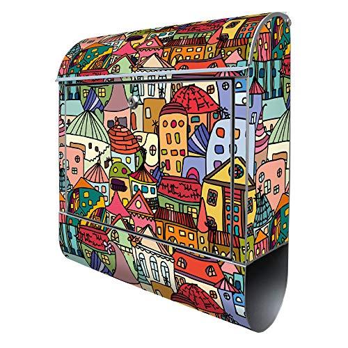 Banjado Design Briefkasten mit Motiv Funky Town | Stahl pulverbeschichtet mit Zeitungsrolle | Größe 38x47x14cm, 2 Schlüssel, A4 Einwurf, inkl. Montagematerial