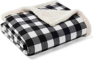 Eddie Bauer | Flannel Collection | Throw Blanket-Reversible Sherpa Fleece Cover, Soft..