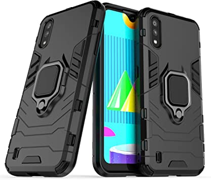 Amazon Com Fantings Case For Samsung Galaxy M01 Rugged And Shockproof With Mobile Phone Holder Cover For Samsung Galaxy M01 Black Electronics